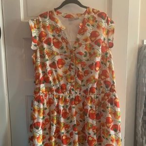 Peach colored Poppies on silky POCKET dress
